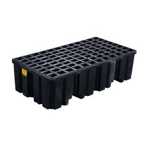 Eagle® 2 Drum Plastic Pallet, Without Drain, Black
