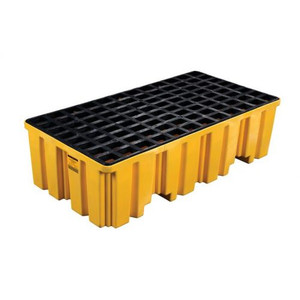 Eagle® 2 Drum Plastic Pallet, Without Drain, Yellow