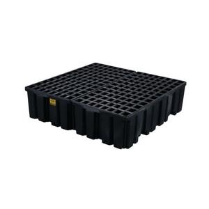 Eagle® 4 Drum Plastic Pallet With Drain, Black