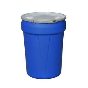 """Eagle® 30 Gallon, Metal Lever-Lock, Lab Pack Open Head Plastic Barrel Drum With 1x2"""" And 1x3/4"""" Bung Holes, Blue"""