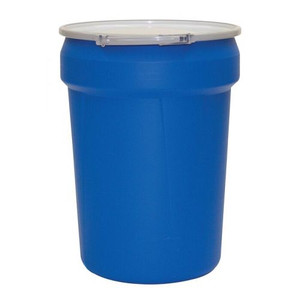 """Eagle® 30 Gallon, Metal Lever-Lock, Lab Pack Open Head Plastic Barrel Drum With 2x2"""" Bung Holes, Blue"""