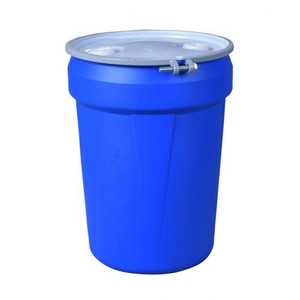"""Eagle® 30 Gallon, Metal Bolt Rings, Lab Pack Open Head Plastic Barrel Drum With 2x2"""" Bung Holes, Blue"""