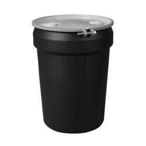 """Eagle® 30 Gallon, Metal Bolt Ring, Lab Pack Open Head Plastic Barrel Drum With 2x2"""" Bung Hole, Black"""