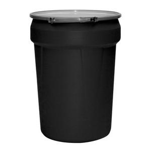 Eagle® 30 Gallon, Metal Lever-Lock, Lab Pack Plastic Barrel Drum, Black