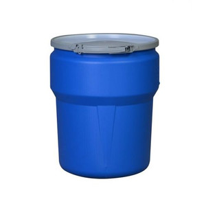 """Eagle® 14 Gallon, Metal Lever-Lock, Lab Pack Open Head Plastic Barrel Drum Metal With 1x2"""" And 1x3/4"""" Bung Holes, Blue"""