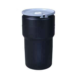 """Eagle® 14 Gallon, Metal Bolt Ring, Lab Pack Open Head Plastic Barrel Drum With 1x2"""" And 1x3/4"""" Bung Holes, Yellow"""