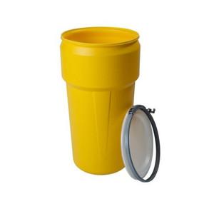 Eagle® 20 Gallon, Metal Lever-Lock, Lab Pack Plastic Barrel Drum, Yellow