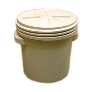 Eagle® 20 Gallon, Plastic Barrel Drum With Screw On Lid, Beige