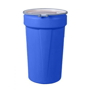 """Eagle® 55 Gallon, Metal Bolt Ring, Plastic Barrel Drum With 1x2"""" And 1x3/4"""" Bung Holes, Blue"""