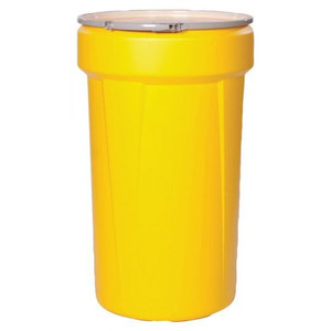 """Eagle® 55 Gallon, Metal Lever-Lock, Lab Pack Open Head Plastic Barrel Drum With 1x2"""" And 1x3/4"""" Bung Holes, Yellow"""