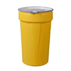 "Eagle® 55 Gallon, Metal Bolt Rings, Lab Pack Open Head Plastic Barrel Drum With 1x2"" And 1x3/4"" Bung Holes, Yellow"