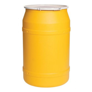 Eagle® 55 Gallon, Plastic Lever-Lock, Lab Open Head Plastic Barrel Drum, Yellow