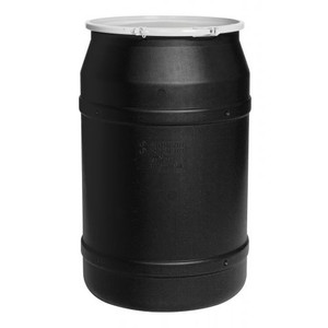 "Eagle® 55 Gallon, Plastic Lever-Lock, Lab Pack Open Head Plastic Barrel Drum With 1x2"" And 1x3/4"" Bung Holes, Black"