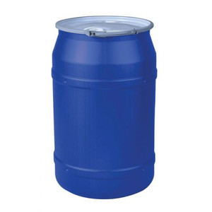 """Eagle® 55 Gallon, Metal Lever-Lock, Lab Pack Open Head Plastic Barrel Drum With 2 x 2"""" Bung Holes, Blue"""