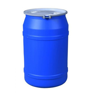 """Eagle® 55 Gallon, Metal Bolt Ring, Lab Pack Open Head Plastic Barrel Drum With 2 x 2"""" Bung Holes, Blue"""