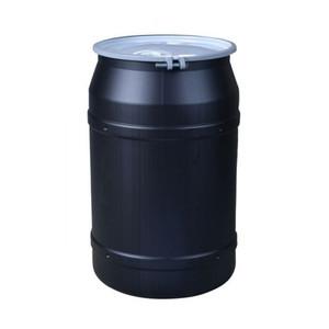 "Eagle® 55 Gallon, Metal Bolt Ring, Lab Pack Plastic Barrel Drum With 2 x 2"" Bung Holes, Black"