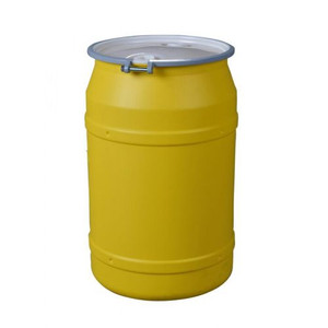 """Eagle® 55 Gallon, Metal Bolt Rings, Lab Pack Plastic Barrel Drum With 2 x 2"""" Bung Holes, Yellow"""
