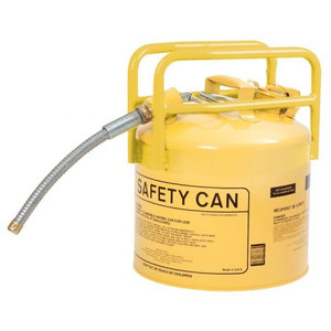"""Eagle® 5 Gallon DOT Transport Type II Safety Can For Diesel, 5/8"""" Metal Hose, Yellow"""