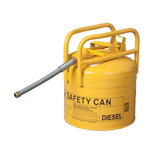"""Eagle® 5 Gallon DOT Transport Type II Safety Can For Diesel, 7/8"""" Metal Hose, Yellow"""