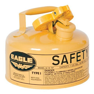 Eagle® 1 Gallon Steel Safety Can For Diesel, Type I, Flame Arrester, Yellow