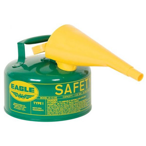Eagle® 1 Gallon Safety Can For Combustibles, Type I, Flame Arrester, Funnel, Green