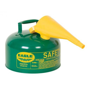 Eagle® 2 Gallon Safety Can For Combustibles, Type I, Flame Arrester, Funnel, Green