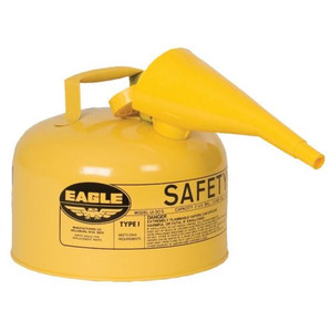 Eagle® 2.5 Gallon Steel Safety Can For Diesel, Type I, Flame Arrester, Funnel, Yellow