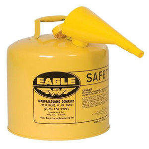 Eagle® 5 Gallon Steel Safety Can For Diesel, Type I, Flame Arrester, Funnel, Yellow