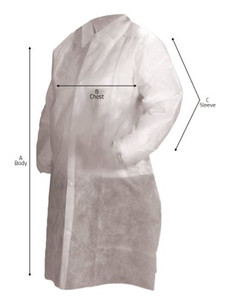 Disposable Lab Coat, Critical Cover®, Tapered Collar, Elastic Wrist, No Pockets, Snap Close, White, pack/25