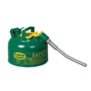 """Eagle® 2.5 Gallon, 7/8"""" Metal Hose, Steel Safety Can For Combustibles, Type II, Green"""