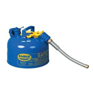 "Eagle® 2.5 Gallon, 5/8"" Metal Hose, Steel Safety Can For Kerosene, Type II, Blue"