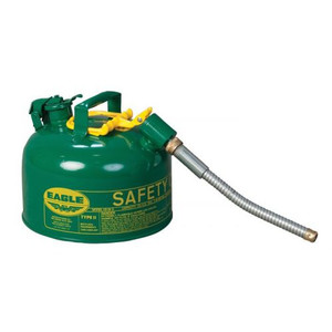 """Eagle® 2.5 Gallon, 5/8"""" Metal Hose, Safety Can For Combustibles, Type II, Green"""