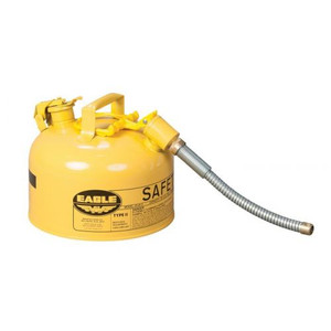 """Eagle® 2.5 Gallon, 7/8"""" Metal Hose, Steel Safety Can For Diesel, Type II, Yellow"""