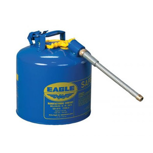 "Eagle® 5 Gallon, 5/8"" Metal Hose, Steel Safety Can For Kerosene, Type II, Blue"