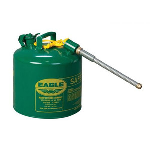 """Eagle® 5 Gallon, 5/8"""" Metal Hose, Steel Safety Can For Combustibles, Type II, Green"""