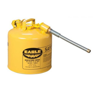 """Eagle® 5 Gallon, 5/8"""" Metal Hose, Steel Safety Can For Diesel, Type II, Yellow"""