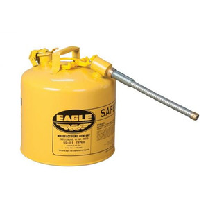 """Eagle® 5 Gallon, 7/8"""" Metal Hose, Steel Safety Can For Diesel, Type II, Yellow"""
