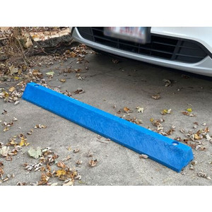 """Eagle® 8 """"W X 72""""L X 4""""H, Plastic Protective Parking Stop, Anchor Kit With 3 Spikes, Blue"""