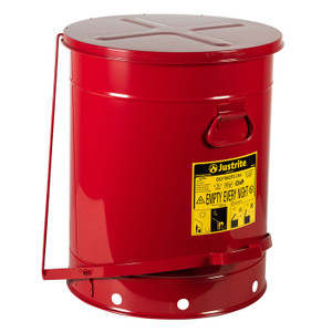 Eagle® Oily Waste Can, 21 Gallon, Foot-Operated Self-Closing SoundGard™ Cover, Red