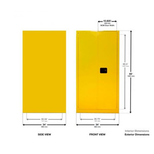 Eagle® 55 Gallon Vertical Sliding Self Close Safety Cabinet, Yellow