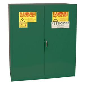 Eagle® 110 Gallon, 2 Drum, Vertical, 1 Shelf, 2 Door, Self Close, Pesticide Safety Cabinet, Green