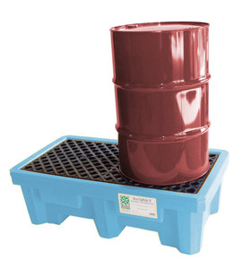Spill Pallet P2 Fluorinated, Light Blue with Drain