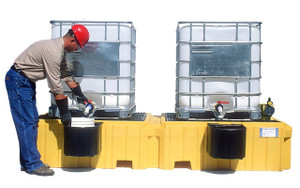 Twin IBC Spill Pallet with 2 bucket shelves with Drain