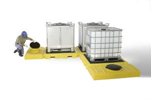 Modular IBC Spill Pallet: 3-Tank, Indoor Model