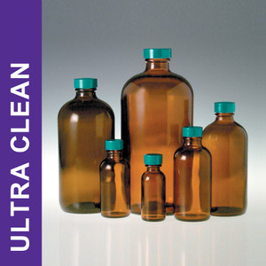 Product Family: Ultra Clean 8oz (240ml) Amber Boston Round, 24-400 Green PTFE Lined Cap