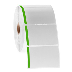 """Paper Labels For Direct Thermal Printers, White With Green Color Tab, 3"""" x 2"""", with color tab, 1000 labels/roll"""