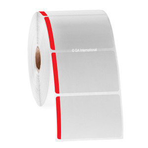 """Paper Labels For Direct Thermal Printers, White With Red Color Tab, 3"""" x 2"""", with color tab, 1000 labels/roll"""