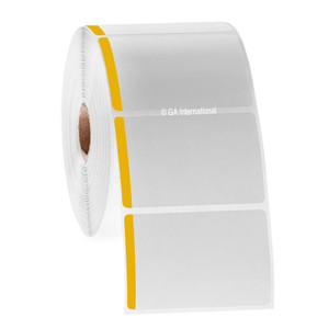 """Paper Labels For Direct Thermal Printers, White With Yellow Color Tab, 3"""" x 2"""", with color tab, 1000 labels/roll"""