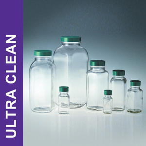 Product Family: Ultra Clean 16oz (480ml) Clear French Square, 48-400 Green PTFE Lined Cap