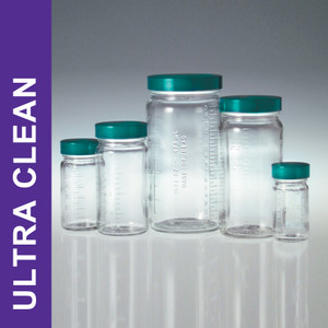 Product Family: Ultra Clean 4oz (120ml) Clear Graduated Glass Jars, 48-400 Green PTFE Lined Cap